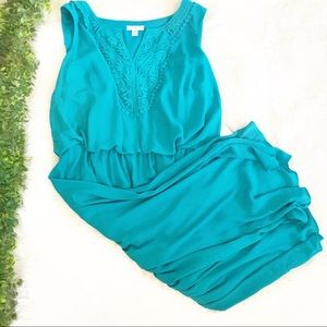 NWT London Times Embroidered Blue Dress